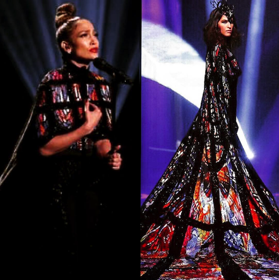 Jennifer Lopez wears a Michael Cinco