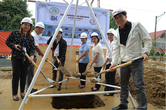 Linda Atayde, 3rd from right at a ground breaking ceremony of an SM school building project