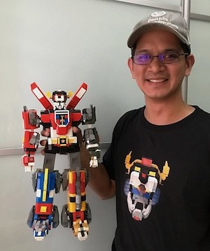 Leandro Tayag with his LEGO creation