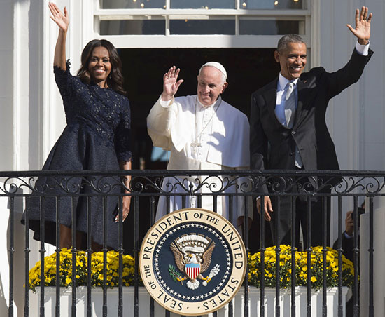 Michelle Obama wears Lhuillier dress for Pope visit