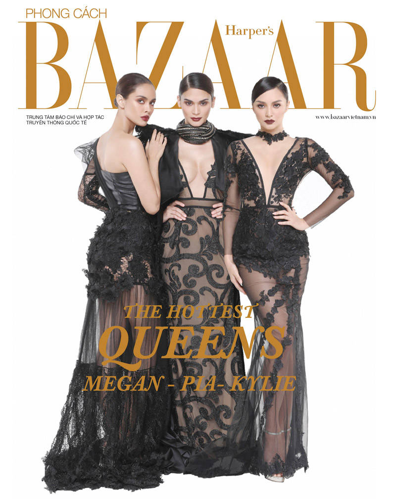Filipino beauty queens Megan, Pia and Kylie on the cover of Harper's