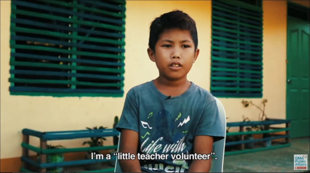 12-year-old volunteer teacher Dagul