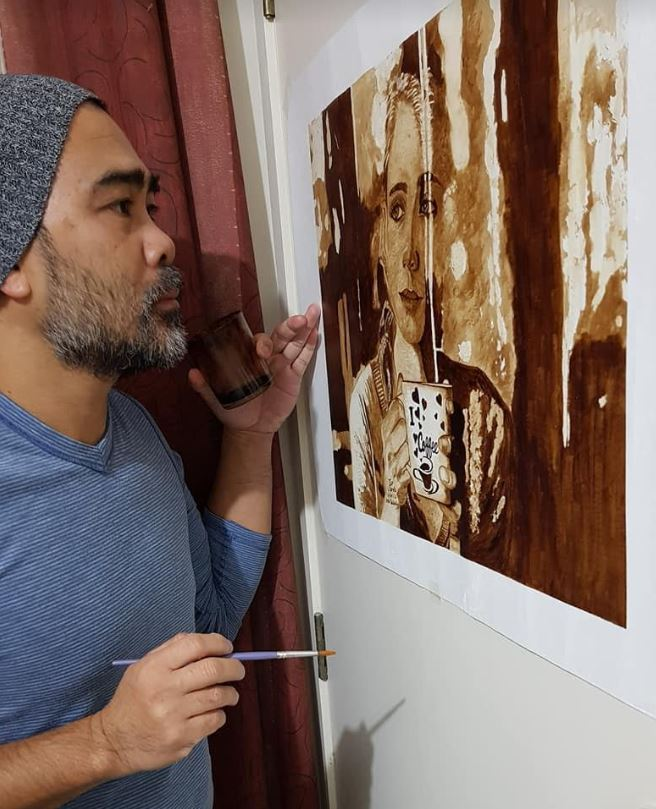 Larry Abreño Coffee Painting