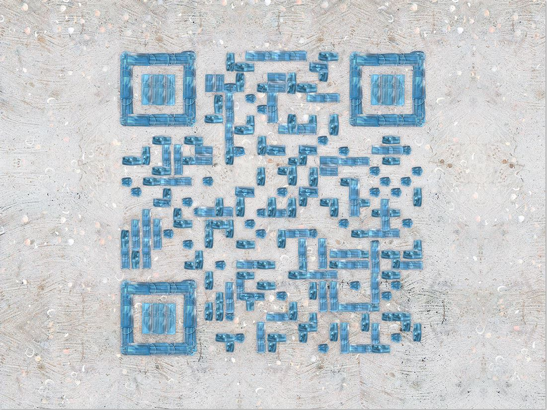 Top view of QR Code made on the Zamboanga beach.