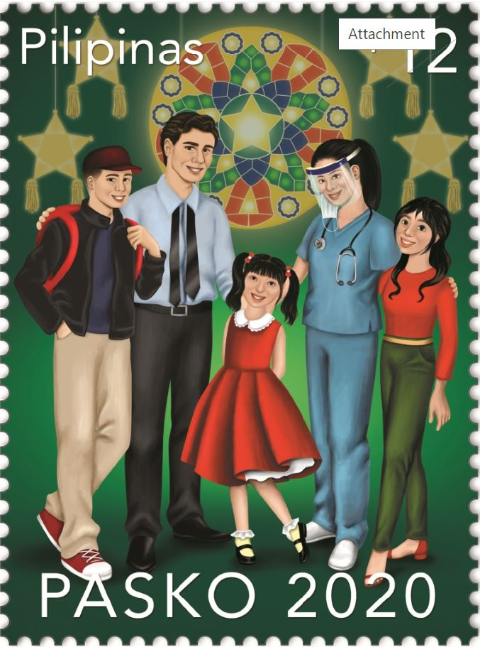 Filipino family Christmas Philippine postal stamps