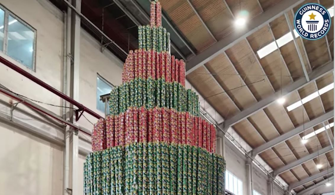 Christmas tree tower of sandine cans