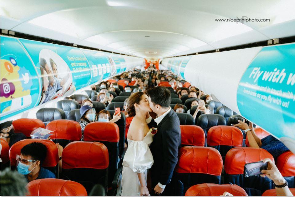 Flight steward couple wedding