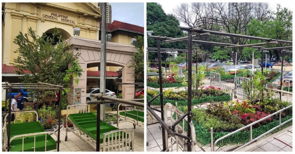 """Flower """"beds"""" garden art at UP PGH"""