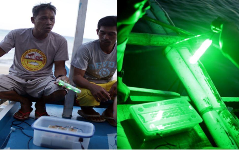 Philippine university pollution-powered battery lights