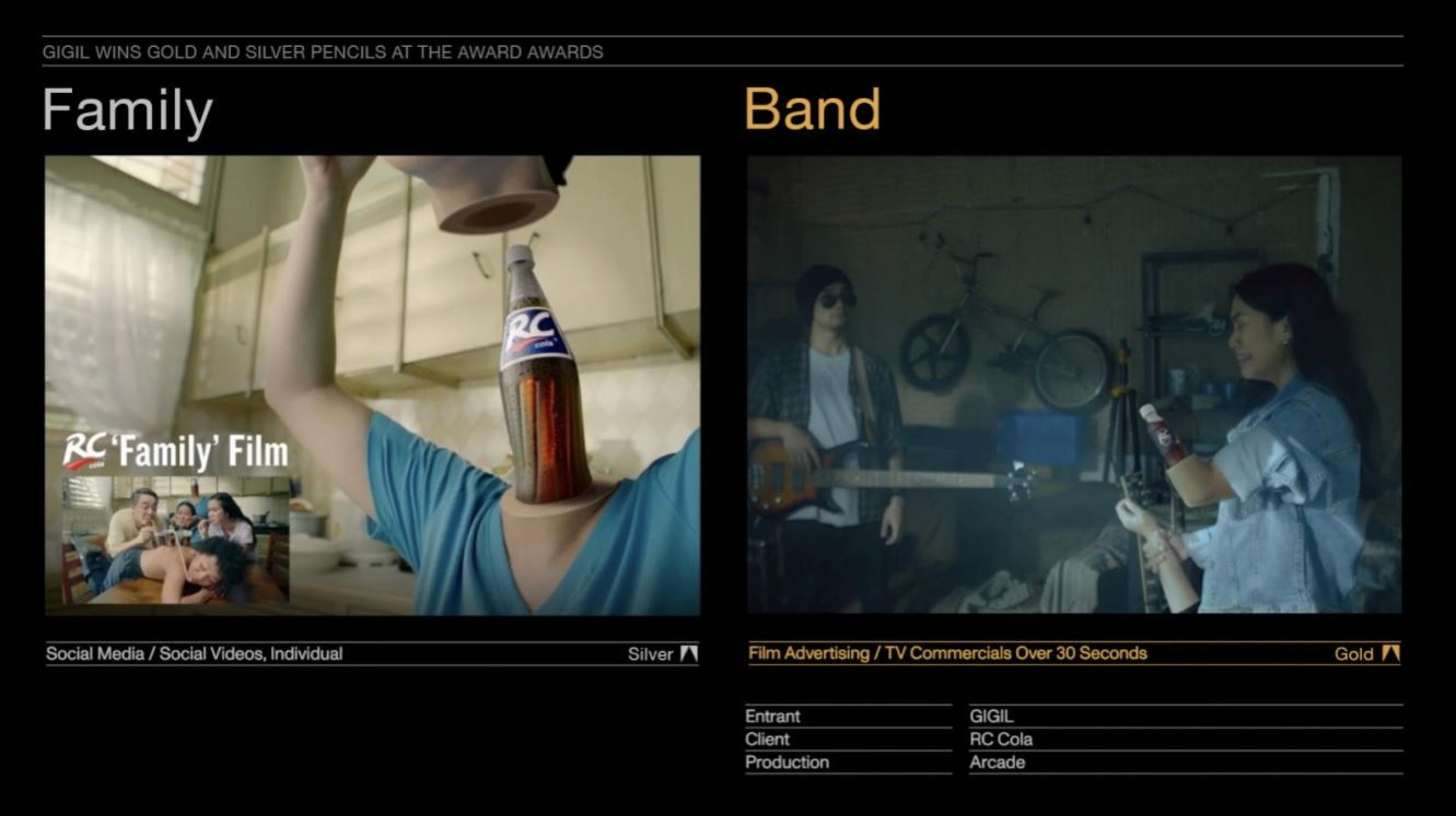 RC Cola video ads Australasian gold awards