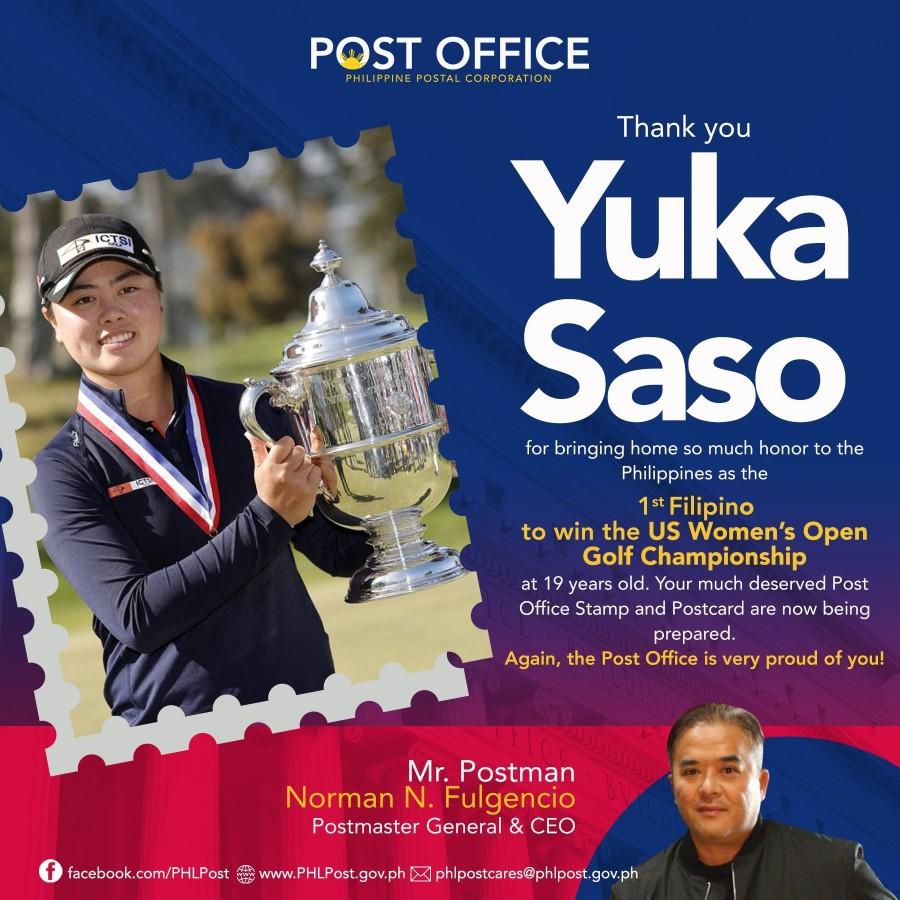 Yuka Saso Golf champion  special stamp