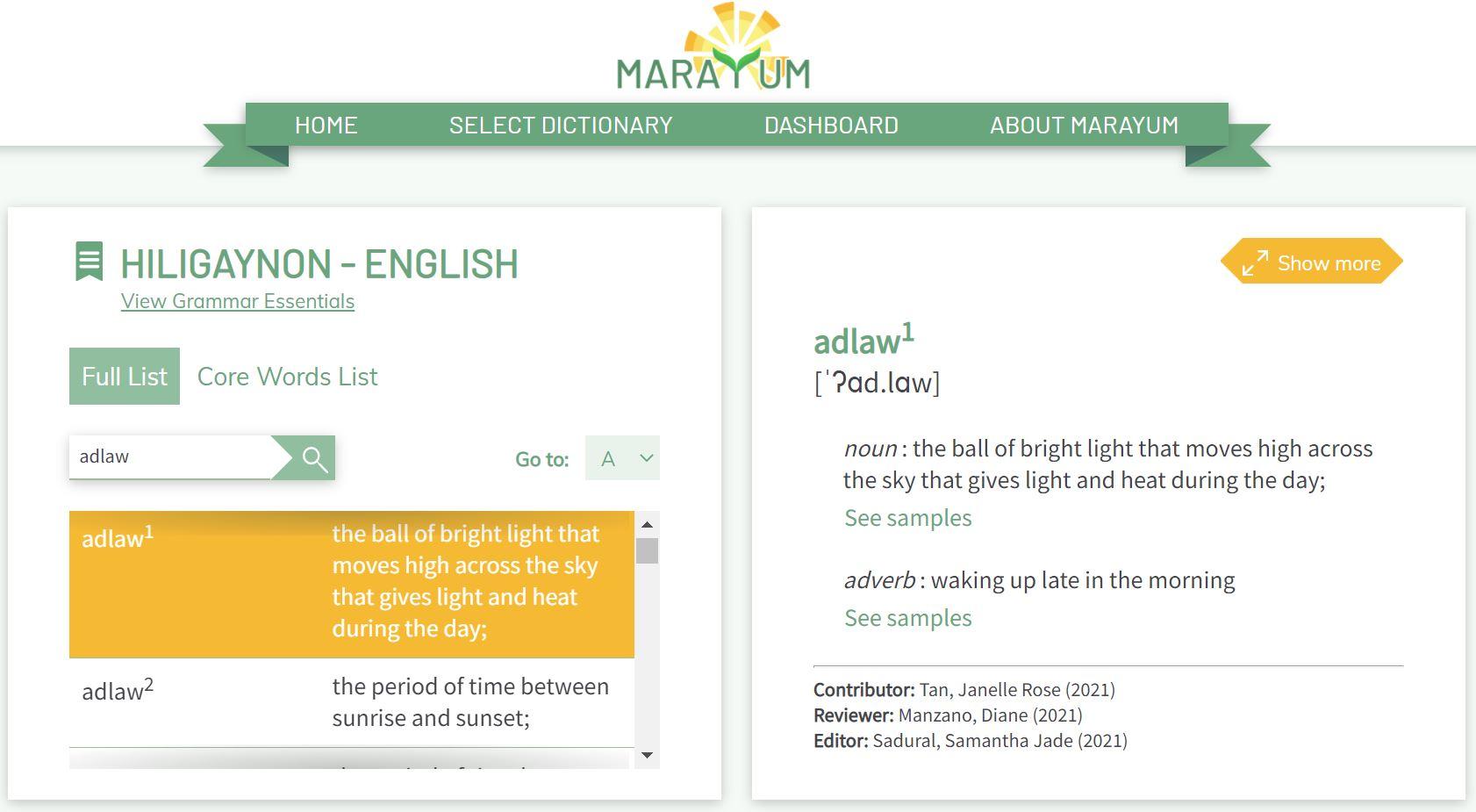 Philippine Online Dictionary languages