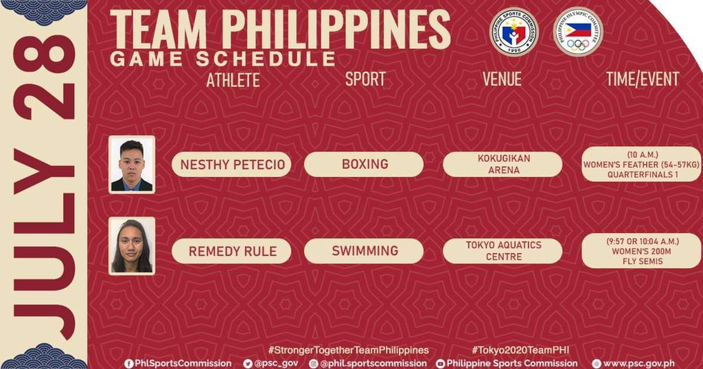 Philippines Olympics Schedule Today