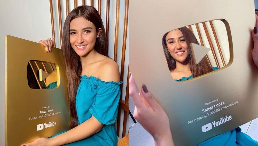 Sanya Lopez YouTube Gold Play Button award